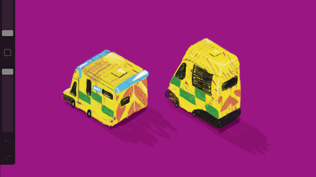 Cartoon NHS ambulances
