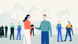 Animation of multiple people shaking hands